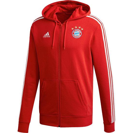 Adidas FC Bayern München 3 Streifen Zip Hoodie Rot
