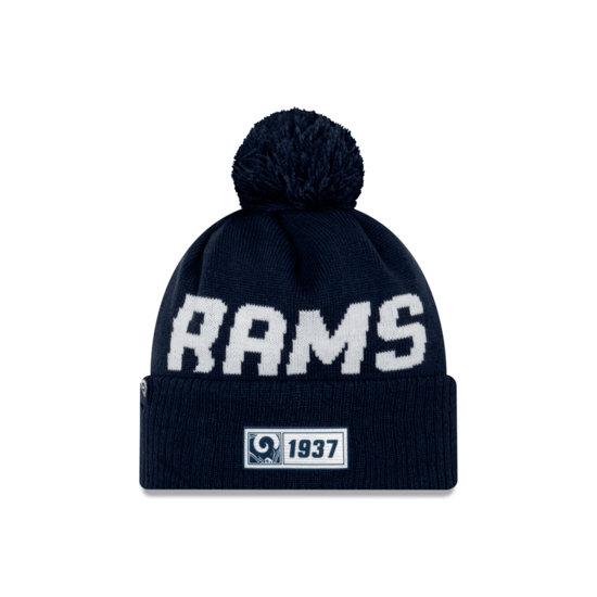 New Era Los Angeles Rams Beanie On Field Sport Knit RD blau
